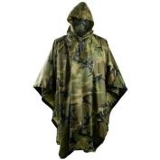 Hooded Ripstop Waterproof Poncho Helikon Woodland Camo