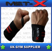 Met-X Authentic Wrist Weight Lifting Training Gym Straps Bandage Black/Red