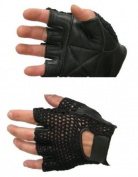 Weight Lifting Gloves Mesh Half Leather Black Large