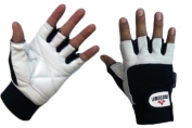 Meteor Gym Gloves White Leather, Fitness Gloves ALL Sizes MT-05