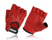 Meteor Red Leather Fingerless Gloves, Fashion Gloves, Gym Leather Gloves Red Small,M,L,XL Training