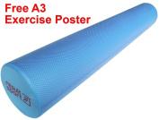 "ResultSport® EVA Foam Roller - Blue - 15cm x 90cm (6"" x 36"") - Free A3 Exercise Poster"