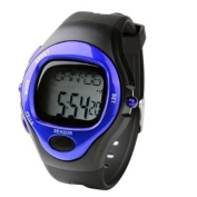 Blue Sport Exercise Stop Watch Calorie Counter Heart Rate Monitor