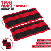 MAXSTRENGTH ® 0.5 kg, 1kg, 2kg Pairs Wrist Ankle Weights Weighted Adjuststable Strap