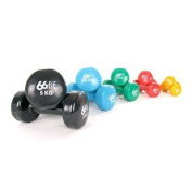 66fit Vinyl Coated Dumbbells (Set of 2) - Gym Fitness Exercise Biceps Weight Training