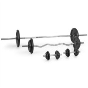 Klarfit Free Weights Set (2 x Dumbbells, 1 x Barbell, 1 x Curl bar and 14 weights) - 82.5kg