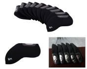 Bundle Monster 10pc Neoprene Golf Iron Club See Through Window Head Cover Protection Case Set - For Taylormade, Nike, Callaway, Etc