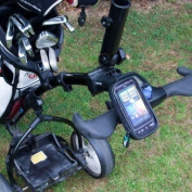 Golf Cart / Trolley Phone Mount & Waterproof Case for the Apple iPhone 4 smartphone.