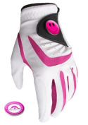 All Weather Golf Glove with Pink Smiley Ball Marker and Free Sherpshaw Ball Marker