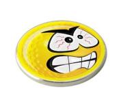 YELLOW SMILEY ANGRY GOLF BALL MARKER.