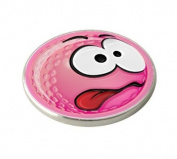 PINK SMILEY CRAZY GOLF BALL MARKER.
