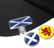 SCOTLAND ELITE HAT OR CAP CLIP WITH SCOTTISH AND RAMPANT LION GOLF BALL MARKERS