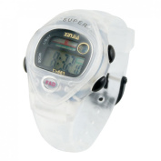 White Soft Rubber Wristband Round Dial Alarm Stopwatch Sports Watch for Lady