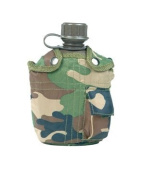 Mil-tec Woodland Camo Water Bottle With Cover