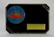 7.6cm x 10cm BLACK & GOLD PLASTIC PLAQUE