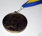 63MM METAL GOLD EFFECT LADIES TENNIS MEDAL & RIBBON