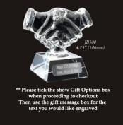 glass trophy handshake award