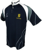 SCOTLAND SIX NATIONS LION RAMPANT EMBROIDERED BREATHABLE RUGBY SHIRT SIZE XS - 3XL