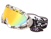 2012 Rayzor Professional UV400 Double Lensed Ski / SnowBoard Goggles, With a Silver Camouflage Frame and an Anti Fog Coated, Clear Orange Anti-Glare Wide Vision Clarity Lens.