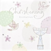 6 Christening Invitation Card's With Envelopes Invites Boy Or Girl Unisex