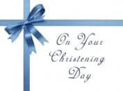 Christening Blue - Modern and . Christening Greeting Card