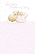 Forget Me Not Cute Girl Christening Card 23cm X 15cm