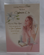 LOVING WISHES SISTER ON YOUR CONFIRMATION DAY GREETINGS CARD. SISTER CONFRIMATION CARD. LOVING WISHES SISTER ON YOUR CONFIRMATION DAY