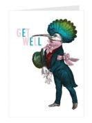 Tartan & Zebra 'Gentleman Bird' get well greeting card