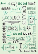 Gold Good Luck Greetings Card Green Text & Arrows 19cm x 13cm Code 629K