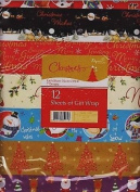 12 Sheets of Assorted Christmas Gift Wrap