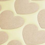 Kraft Heart Stickers - Craft / Scapbooking / DIY Wedding Favours
