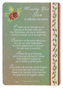 Graveside Memorial Christmas Card & Holder -Missing You Son At Christmas & Always - 3528