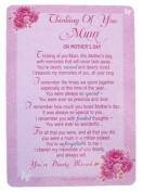 "Loving Memory Mother's Day Graveside Memorial Card & Holder 5.75 x 4""- Thinking Of You Mum 35002"