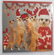 Christmas Conga Meerkat Christmas Card glitter detail Meerkats in woolly jumpers