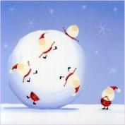 Contemporary Christmas Card - Santa in Snowball