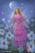 Fairy Queen Art Cards - Hibiscus Flower Fairy Art Greeting Card - Blank - Pink Hibiscus Fairy Queen