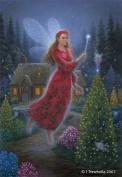 Fairy Queen Art Cards - Poinsettia Christmas Fairy Art Greeting Card - Blank - Poinsettia Fairy Queen's Magic Touch