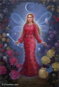 Fairy Queen Art Cards - Rose Flower Fairy Art Greeting Card - Blank - Red Rose Fairy Queen