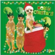 MEERKAT ELVES SANTA'S HELPERS SINGLE CHRISTMAS CARD