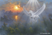 Pegasus Art Cards - Pegasus Art Greeting Cards - Pegasus Cards - Blank - Flying Pegasus at Sunrise