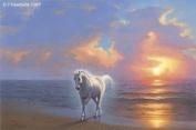 Unicorn Art Cards - Unicorn Art Greeting Cards - Unicorn Cards - Blank - Unicorn At Sunrise Beach