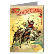 Classic Vintage Christmas Card Showing Santa and Reindeer Sleigh Over The World, Victorian Holiday Greeting Cards Boxed Set