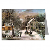 Currier and Ives Christmas American Homestead, Winter Greeting Card Set
