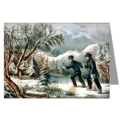 Currier and Ives Christmas Rabbit Catching Greeting Card Set