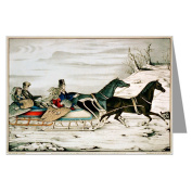 Currier and Ives Christmas The Sleigh Race 1848, Winter Greeting Card Set