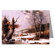 Currier and Ives Vintage Holiday G.H.Durrie, Gathering Wood for Winter 1855 Christmas Greeting Card set