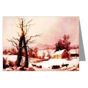 Currier and Ives Vintage Holiday G.H.Durrie, Winter Farmyard and Sleigh 1860 Christmas Greeting Card set