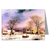 Currier and Ives Winter Holiday G.H.Durrie, The Half Way House 1861 Christmas Greeting Card set