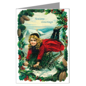Victorian Christmas Girl on a Sled, Wishing Seasons Greeting, Vintage Greeting Cards Boxed Set