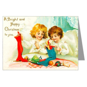 Victorian Kids Opening Christmas Stockings, Vintage Holiday Greeting Cards Boxed Set